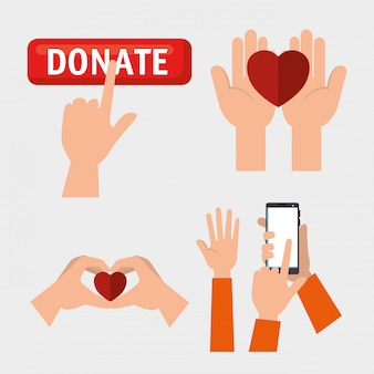 Set of hands with hearts for charity donation