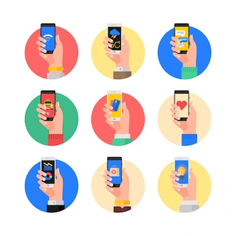 Set of hands with phone abstract vector flat design illustration.