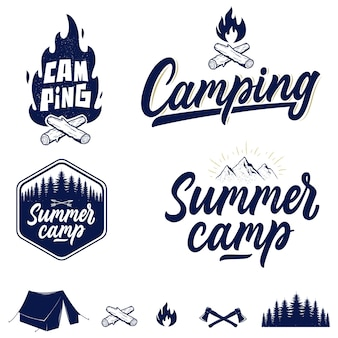Set of handwritten camping and outdoor emblems, logos and badges.