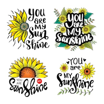 Set of handwritten lettering you are my sunshine