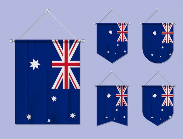 Set of hanging flags australia with textile texture. diversity shapes of the national flag country. vertical template pennant