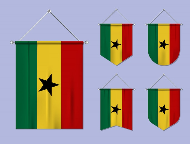 Set of hanging flags ghana with textile texture. diversity shapes of the national flag country. vertical template pennant