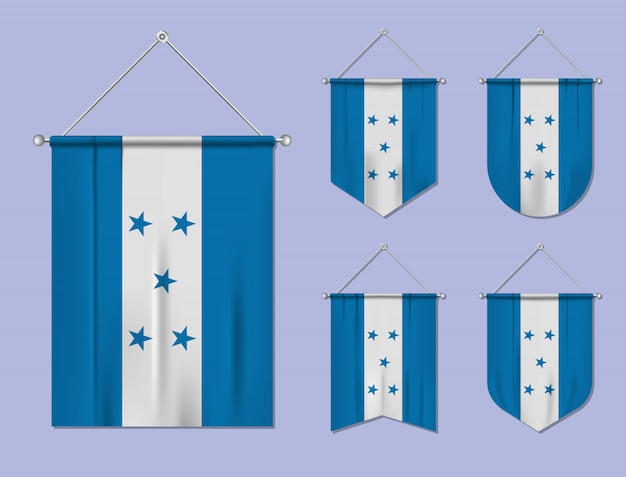 Set of hanging flags honduras with textile texture. diversity shapes of the national flag country. vertical template pennant
