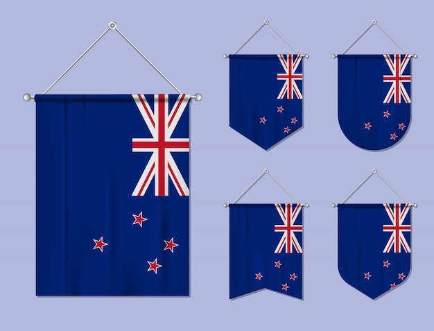 Set of hanging flags new zealand with textile texture. diversity shapes of the national flag country. vertical template pennant
