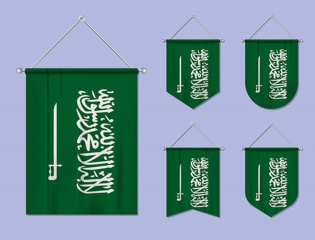 Set of hanging flags saudi arabia with textile texture. diversity shapes of the national flag country. vertical template pennant