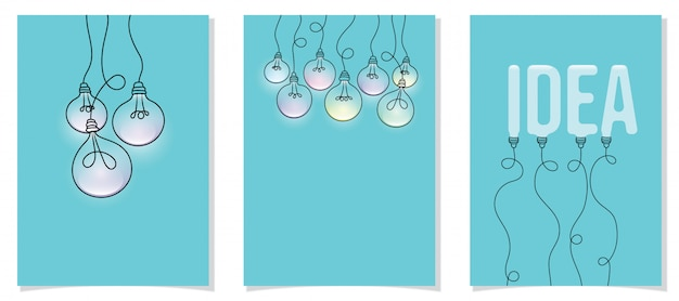 Set of hanging light bulbs on card, idea concept.