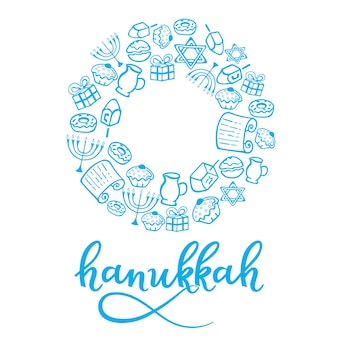 Set of hanukkah design elements in doodle style. traditional attributes of the menorah, dreidel, oil, torah, donut. round frame