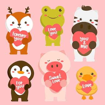 Set of happy animals in cartoon style with love greeting card. celebrating saint valentine's day