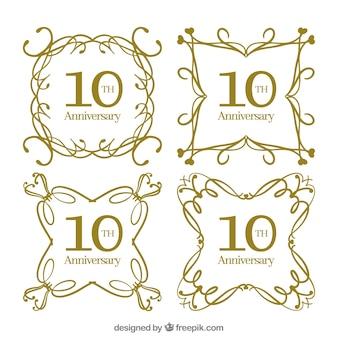 Установите счастливые поздравительные открытки с орнаментом в золотом стиле