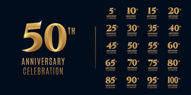 Set of happy anniversary celebration logo