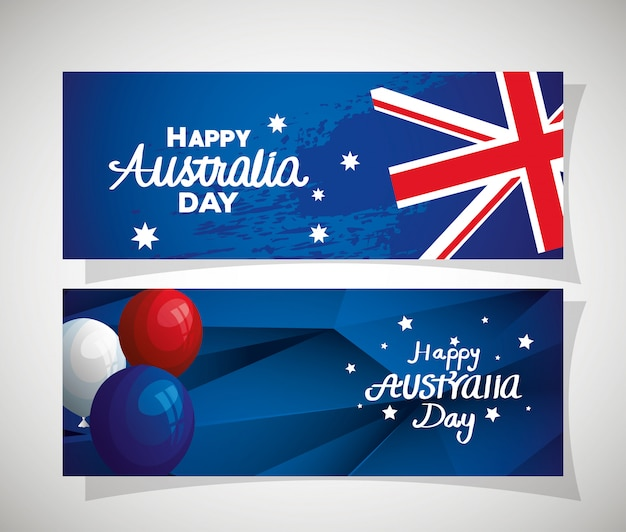 Set of happy australia day with decoration