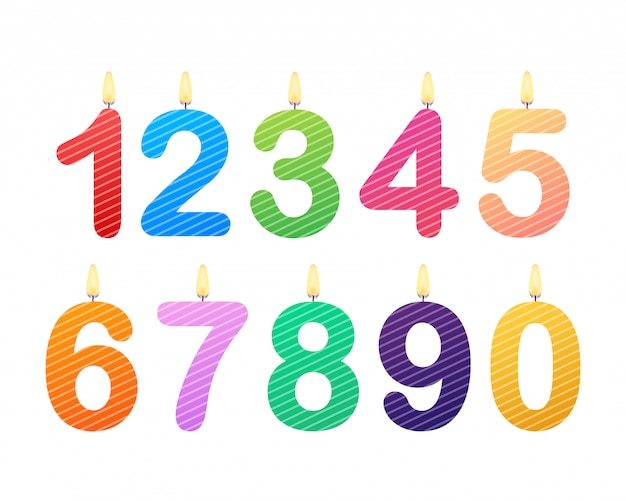 Set of happy birthday candle numbers.