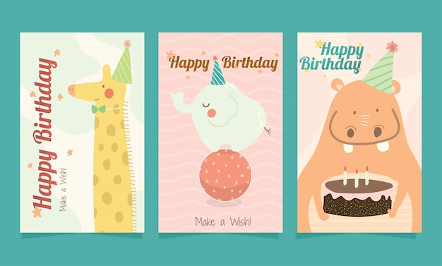 Set of happy birthday cute animals card for kids.