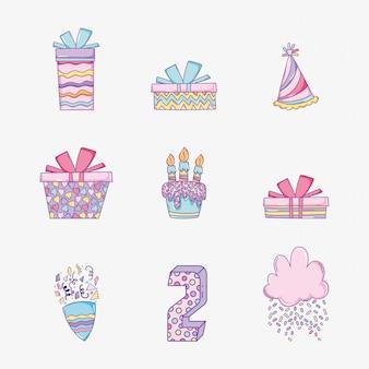Set happy birthday decoration to celebrate