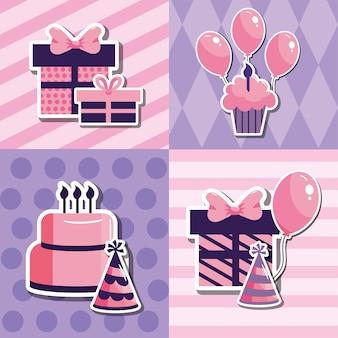 Set happy birthday decoration party event