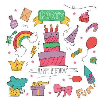 Set of happy birthday doodle background in hand drawn colourful