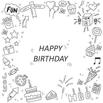 Set of happy birthday doodle elements isolated on white background vector illustration
