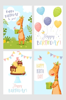 Set of happy birthday greeting card giraffe cake and balloons.
