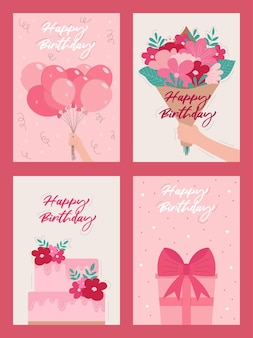 Set of happy birthday greeting cards in flat style