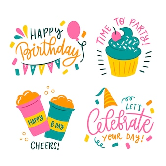Set of happy birthday greetings