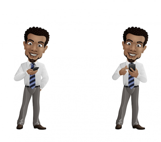 Set of happy businessman holding mobile phone