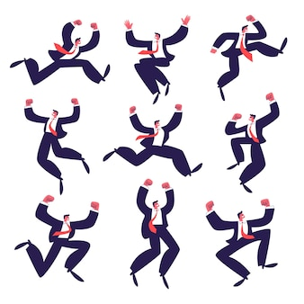 Set of happy businessmen jumping. a group of active successful young men in suit with a red tie.