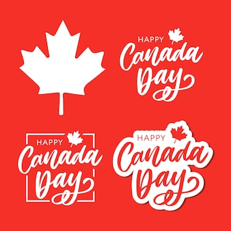 Set happy canada day lettering