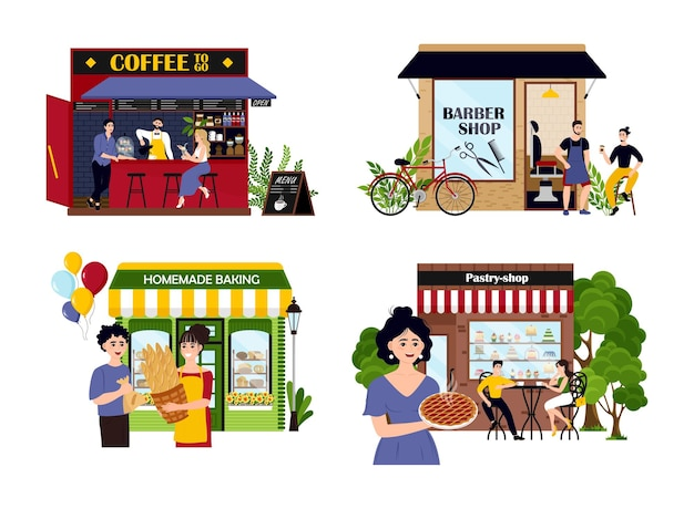 Set of happy cartoon diverse people work at family business vector flat illustration collection of o...