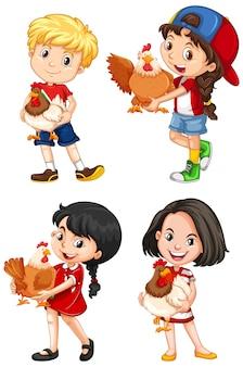 Set of happy children and chicken on white background
