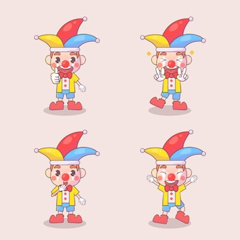 Set of happy clown cute character with many gesture expressions