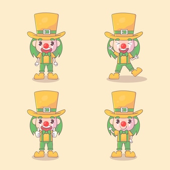 Set of happy clown cute character with many gesture expressions .