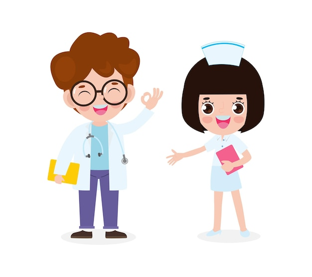 Set of happy cute asian doctor and nurse