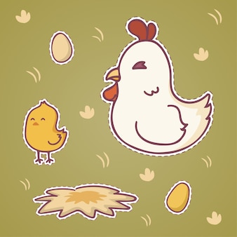 Set of happy cute cartoon chicken