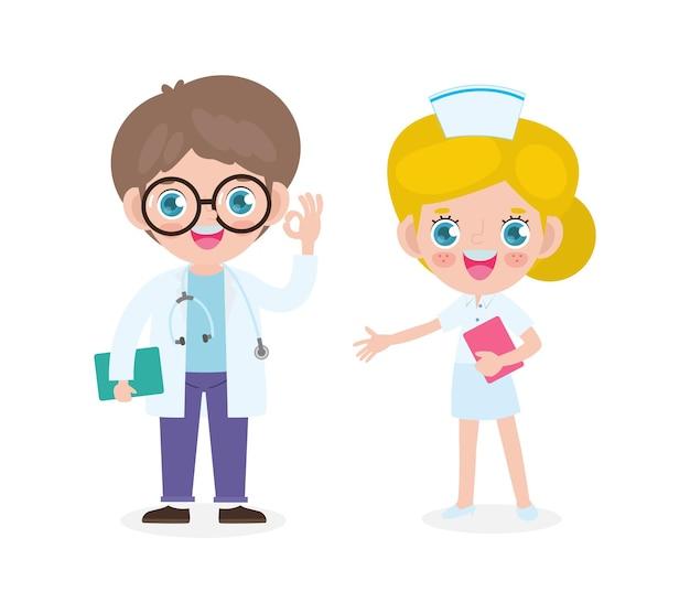 Set of happy cute caucasian doctor and nurse