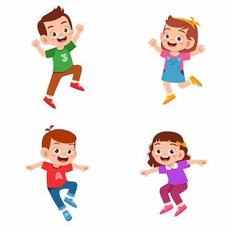 Set of happy cute kid boy and girl jump and smile.