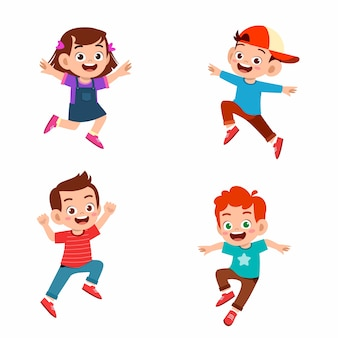 Set of happy cute kid boy and girl jump and smile