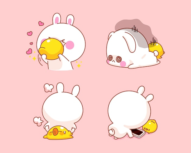Set of happy cute rabbit with duck doing activities together cartoon illustration