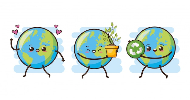 Set of happy earth kawaii, illustration