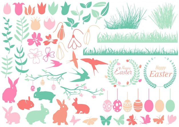 Set of happy easter design elements