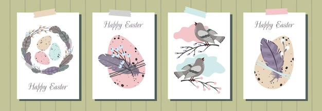 Set of happy easter greeting cards.  easter eggs, feather wreath, singing bird, willow.