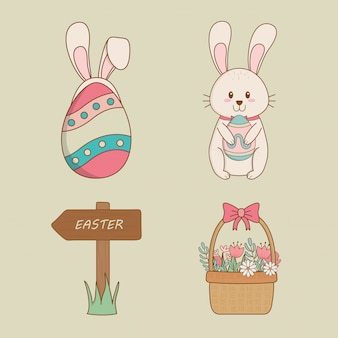 Set of happy easter icons