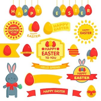 Set of happy easter ornaments and decorative elements. vector illustration