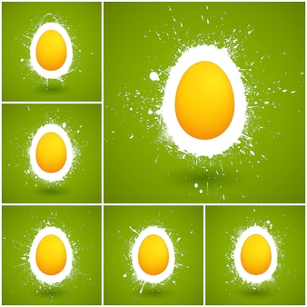 Set of happy easter vector background