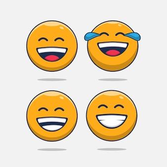 Set of happy emoji