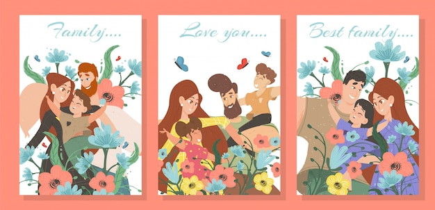 Set of happy family cards