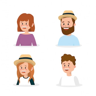 Set happy family people with hairstyle
