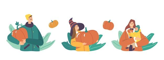 가을 정원에서 행복한 가족 따기 호박을 설정합니다. 계절 할로윈이나 추수 감사절 축하를 위해 익은 식물을 수확하는 어머니, 아버지 및 어린이 캐릭터. 만화 사람들 벡터 일러스트 레이 션