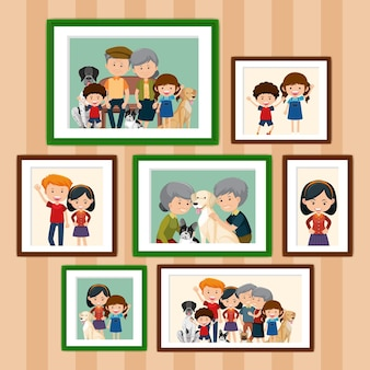 Set of happy family pictures in frames cartoon style