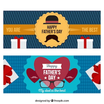 Set of happy father's day banners with gifts box in flat style