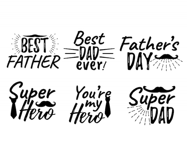 Set of happy father's day lettering. best father. best dad ever. super hero